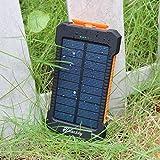 wasserdichte 10000mAh Solar Power Bank, Solar Ladegerät, Externer Akku mit superhelle Taschenlampe, Akku pack für Handy (schwarz-grün) - 3