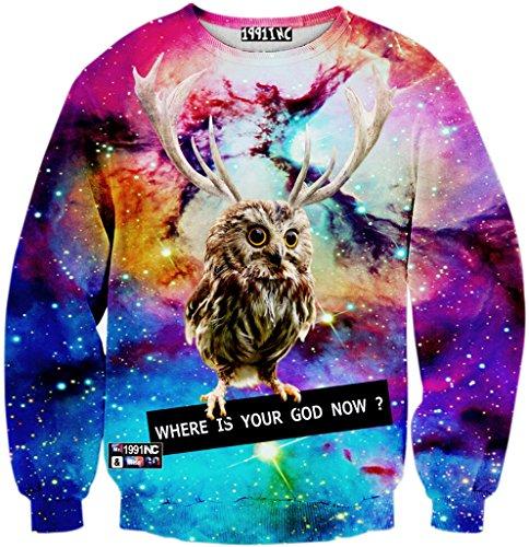 Jeans-print-sweatshirt (Pizoff Unisex Hip Hop Sweatshirts mit 3D Digital Print 3D Muster galaxy steinhimmel eule Y1759-J7-M)