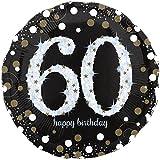paduTec Zahlenballon Ballon Folienballon Luftballon - Glamour 60 Jahre - Happy Birthday Geburtstag Jubiläum - geeignet zur befüllung mit Luft oder Helium Gas - UNGEFÜLLT - zum selber füllen