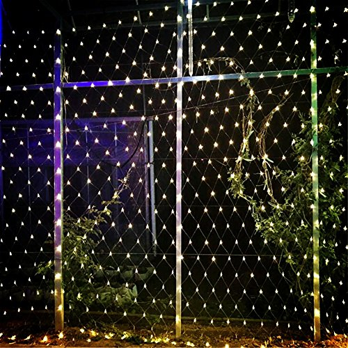 W-ONLY YOU-J LED-Lichternetz Net Lights Festival Weihnachten dekorative Party Hochzeit Weihnachtsbaum-wrap 8 Modi wasserdicht Garten Terrasse Party (2600 LEDs, 8 x 10m, weiß)