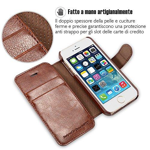 OCASE Cover iPhone 5S [Portafoglio] [pellicola vetro temperato schermo inclusa]Custodia di Pelle Case Flip per iPhone 5 / SE Garanzia a Vita Marrone-1