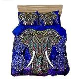 GAOXUE Bettwäsche Bettbezug Kopfkissenbezug,3D gedruckte Bettwäsche, weiche und antiallergische Bettdecke mit Kissenbezug, geeignet für EIN Doppelbett @ Elephant_260 * 230 (3 Stück)