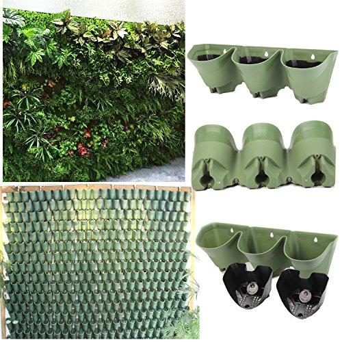 Self Watering System Vertikale Pflanzer, Wandmontierte Blumentöpfe, Fensterboxen, Living Wall Plants Holder, 14 Sätze pro Packung (1 Set mit 1pc Pflanzer und 3pc Filterschicht)