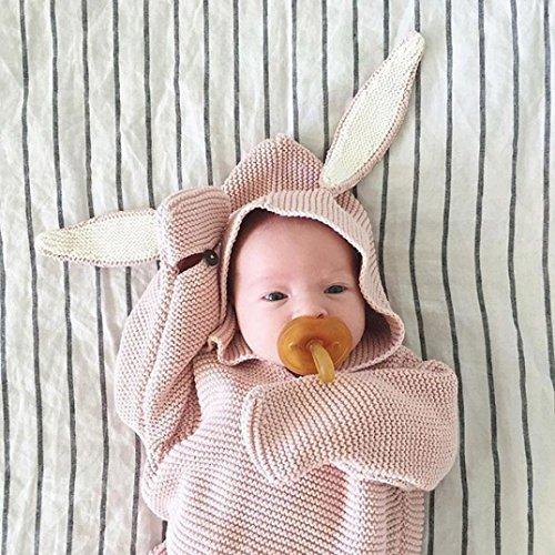 Baby Wickeldecke Decken Neugeborene, yuyoug Neugeborene Infant Baby 3D Kaninchen Ohr gestrickt Baumwolle Wickeldecke Schlafsack Swaddle Wrap, rose, Einheitsgröße