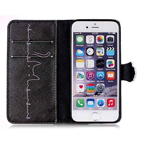 Coque Housse Etui pour iPhone 6 Plus / 6S Plus, iPhone 6 Plus / 6S Plus Cuir Coque Etui, iPhone 6 Plus / 6S Plus Leather Wallet Coque Cases Covers, Ukayfe Protecteur Etui Housse de Protection Étui Coq Lignes Chat