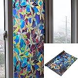 Pegatinas de cristal esmerilado autoadhesivas para ventanas - Decoración en cristal para mayor intimidad - Tamaño 45 x 200 cm (Flor de colores)