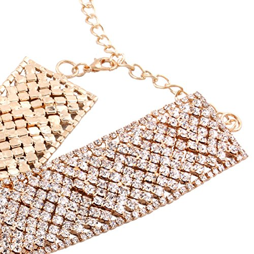 Femme Beau Alliage Strass Large Collier gold