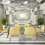 murando - Fototapete 350x245 cm - Vlies Tapete - Moderne Wanddeko - Design Tapete - Wandtapete - Wand Dekoration - Tunnel 3D Holz Grau a-A-0125-a-c