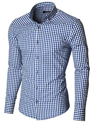 Moderno camicia a quadri uomo (mod1458ls) blu/bianco eu s