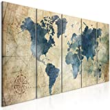 murando Impression sur Toile intissee Carte du Monde 200x80 cm Tableau 5 Parties Tableaux Decoration Murale Photo Image Artistique Photographie Graphique Rose Karte Nautisch k-A-0415-b-m