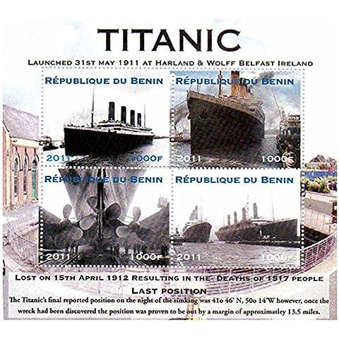 Sellos Titanic - sheetlet sello celebrando el RMS Titanic - Casa de la Moneda y sheetlet sello sin montar con 4 sellos