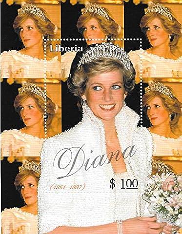 Timbres pour collectionneurs–Princesse Diana–Princesse Pays De Galles MNH simple tampon Feuille/Libéria/