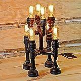 Pointhx Vintage Eisen Industrial Water Pipes Tischlampe American Antique Metall 8 Kopf Stehleuchte Schreibtisch Licht für Bar Taverne Wohnzimmer Steampunk Party Beleuchtung