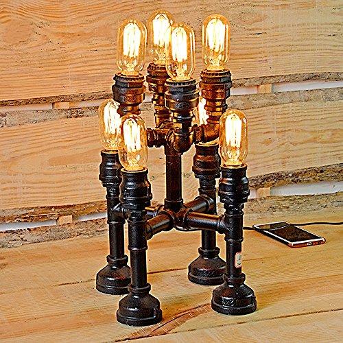 Pointhx Vintage Eisen Industrial Water Pipes Tischlampe American Antique Metall 8 Kopf Stehleuchte Schreibtisch Licht für Bar Taverne Wohnzimmer Steampunk Party Beleuchtung -