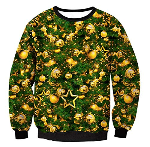 FRAUIT WeihnachtenPullover Damen Weihnachtsbaum Drucken Langarm Sweatshirt Bluse Shirt Kleidung Hässlich Kapuzenpullover Pulli Freizeit Langarmshirt/Pullover- Damen Kleidung Bluse Tops