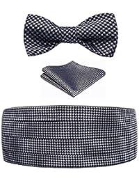 Hisdern Cummerbund formal de los hombres & Corbata de mono & Plaza de bolsillo Set-Various Colores y patrones
