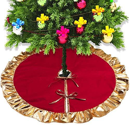 L&Z 90cm Vlies Weihnachtsbaum Rock für Verkleidet den Baumständer, mit Rot und Gold Rüschen Rand...