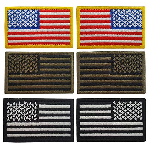 Lightbird 6 Stück taktische Patches rechts und links US Amerika Flagge Patch High Density bestickt Military Morale Deko Patch