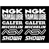 Juego de adhesivos 12 pegatinas blancas logotipo de Michelin Yamalube NGK, 16 cm, pegatinas para coche, moto, camioneta stick
