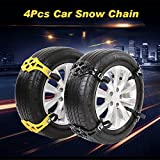 4 PCS universal Auto Schneeketten Anfahrhilfe Anti Rutsch Kette Für Auto SUV LKW mit ein Paar Handschuhe (Schwarz)