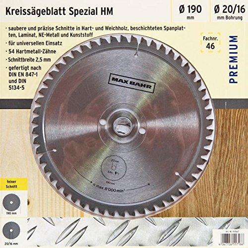 Preisvergleich Produktbild Max Bahr Kreissägeblatt HM 190x2,5x20/16mm Zähne 54 Made by BOSCH