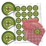 96 kleine rot-weiß karierte Papiertüten Geschenktütchen (13 x 18 cm) und 96 runde Aufkleber Sticker