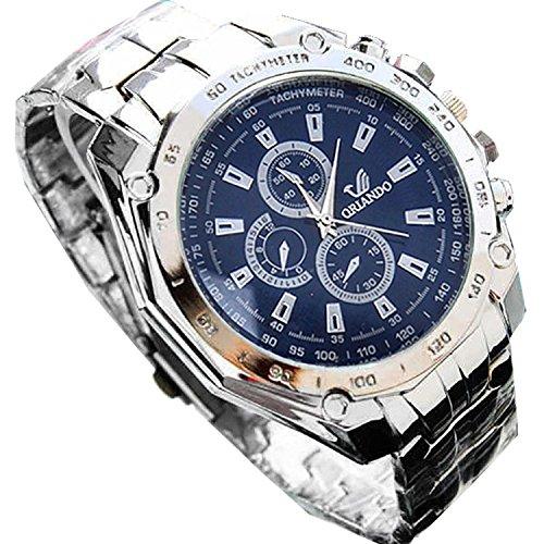 FastDirect Reloj de Pulsera Cuarzo con Correa de Acero Inoxidable Reloj Elegante Comercial para Hombres (Azul)
