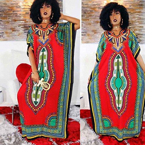 FEITONG Femmes Mode lâche africaine Imprimer Décontracté droite Imprimer Kaftan Robe Rouge