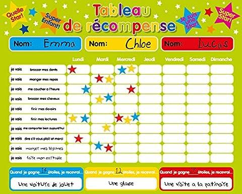Récompense magnétique / Star / Tableau des responsabilités / de comportement pour jusqu'à 3 enfants. Planche rigide de 16