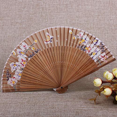 ZZSIccc Faltfächer Chinesische Wind Folding Fan Folding Fan Kirschschmetterling Sommer kleine weibliche Fan Bambus mit A5