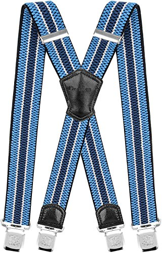 Decalen Hosenträger für Herren Breit 4 cm mit sehr Starken 4 Metall Clip Lang Einheitsgröße für Männer und Damen Einstellbar und Elastisch X Style (Hellblau Weiß Blau) (Damen Dünne Hosenträger)