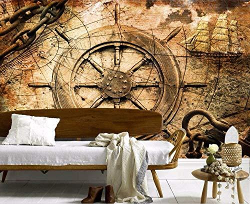 Benutzerdefinierte Tapete 3d Fototapete Vintage europäischen Segel Ära Segelboot Kompass TV Hintergrund Tapeten, 350 * 245cm