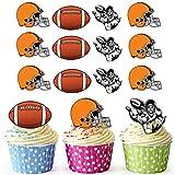 vorgeschnittenen American Football Helm, Orange–Essbare Cupcake Topper/Kuchen Dekorationen (12Stück)