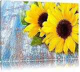 Sonnenblumen auf altem Holztisch Format: 120x80 auf Leinwand, XXL riesige Bilder fertig gerahmt mit Keilrahmen, Kunstdruck auf Wandbild mit Rahmen, günstiger als Gemälde oder Ölbild, kein Poster oder Plakat
