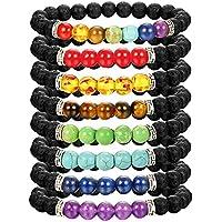 Thunaraz 8 Stück Chakra-Armband für Frauen Herren Naturstein Stretch Armbänder Yoga Reiki Gebet Perlen Glücksarmband preisvergleich bei billige-tabletten.eu