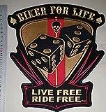 Biker for Life Live Free Ride Free 29cm Big Jumbo Patch Rocker Biker Vest Logo Jacket T Shirt Patch Sew Iron Man aufgenähtes Badge Sign Costum