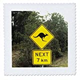 3drose QS _ 74661_ 1Schild Warnung, kangeroos CROSSING in australia-au01bba0096-bill bachmann-quilt Platz, 10von 25,4cm