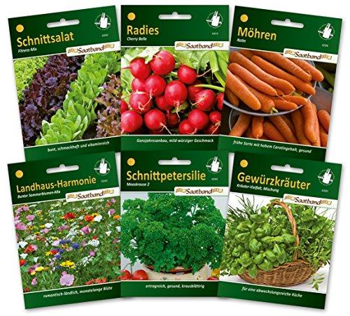 N.L.Chrestensen SET 6 Saatbänder- Gärtnern ganz einfach Gemüsesaatgut und Kräutersaatgut, Mehrfarbig