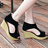 Women Sandals,Women Shoes Summer Sandals Casual Peep Toe Platform Wedges Sandals Shoes (39, Black)