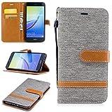 Nancen Wallet Case Hülle für Huawei P10 Lite/Nova Lite(5,2 Zoll),länglich-Taste Magnet,Muster Flip Funktion Kartenfächer Etui,Schütze Dein Telefon