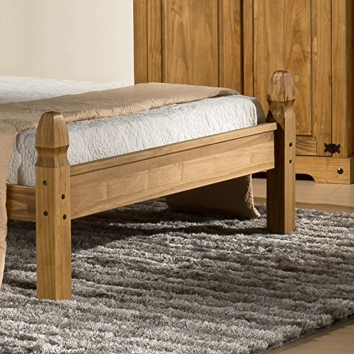 Happy Beds Corona Low Foot End 5' King Size Classic Styled Antique Pine Finished Wooden Bed Frame