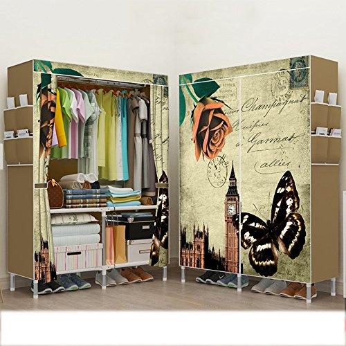 Doppeltes einfaches Tuch-Schrank-Stahlrohr verstärktes einfaches modernes faltendes Kleiderschrank-Schlafsaal-Versammlungs-Schrank ( Farbe : 2 )