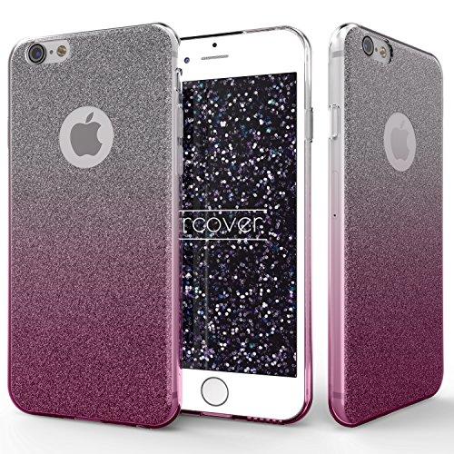 iPhone 6 Plus / 6s Plus Étui, Urcover Rainbow Back-Case TPU Silicone Bling [Brillant Gris] Coque Apple iPhone 6 Plus / 6s Plus Housse Glitter Diamant Fuchsia