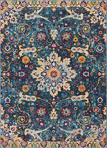 Well Woven Celestial Boho Medaillon Bereich Teppich Gelb, Blau, Violett Distressed im Traditionellen Vintage Floral Oriental Modern 5'3