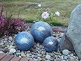 Tierurne – Kugel mit Sonnenmotiv aus frostfester Keramik, Blaugrau, Vol. ca. 0,45 Ltr. - 2