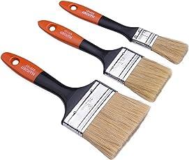 Professionelles Malerpinsel Set 3 tlg - Lackierpinsel, Lasurpinsel und Flachpinsel in Premium Qualität zum Lackieren und Malen von Holz mit Lacken