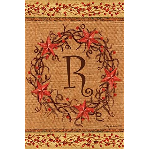 Star corona–R–Doble Cara Monogram decorativa–Bandera de jardín tamaño 12pulgadas x 18pulgadas