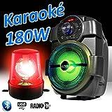 Lautsprecher Party Karaoke 180W Laptop akku handy180mit USB/Bluetooth/FM Radio + Rundumleuchte rot