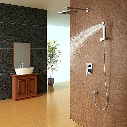 Dual Control Wand (5151buyworld Top Qualität Wasserhahn Flush Dusche Set in die Wand Typ Dusche Set kupfer Dual Control Tippen luftbemischung Typ Top sprayfor Badezimmer Küche Home Gaden (begriffsklärung), chrom,)