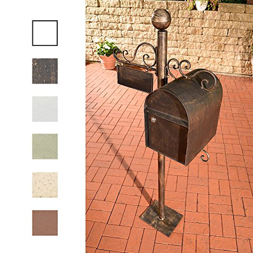 CLP Stand-Briefkasten CHARLIZE, freistehend, 150 cm, mit Namensschild, Design nostalgisch antik Bronze